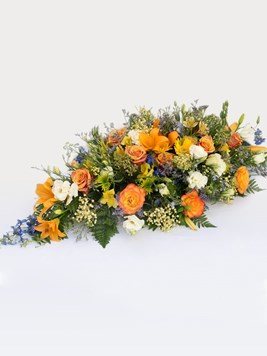 Funeral : Multicoloured Coffin Arrangement AV