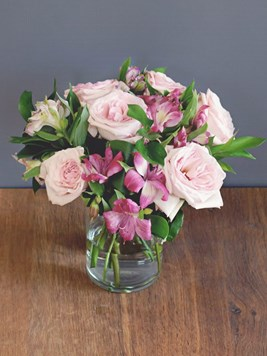 TFG: Pink Roses in a Glass Vase