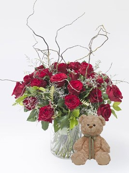 Arrangements: Curly Willow Love with Teddy
