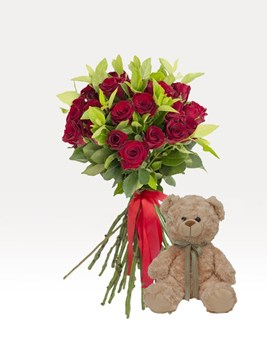 Bouquets: Hand Tied Red with Teddy