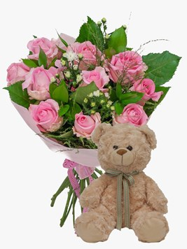 Bouquets: Pretty Pink Rose Bouquet with teddy