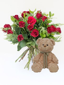 Bouquets: Premier Red Rose Bouquet With Teddy
