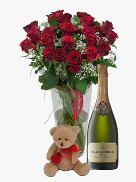 Arrangements:  Red Rose Vase & Million Stars with Teddy & Graham Beck