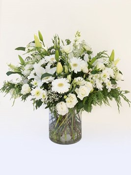 Funeral : Round Church Arrangement in Glass Vase